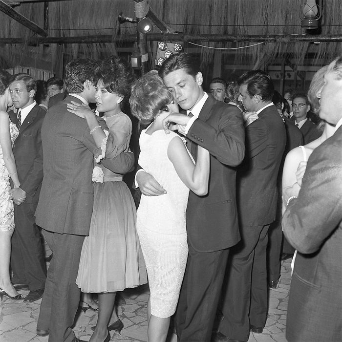 Alain Delon And Romy Schneider Dance During The Golden Age Ciak Evening At Brigadoon Restaurant. Rome, July 29, 1961