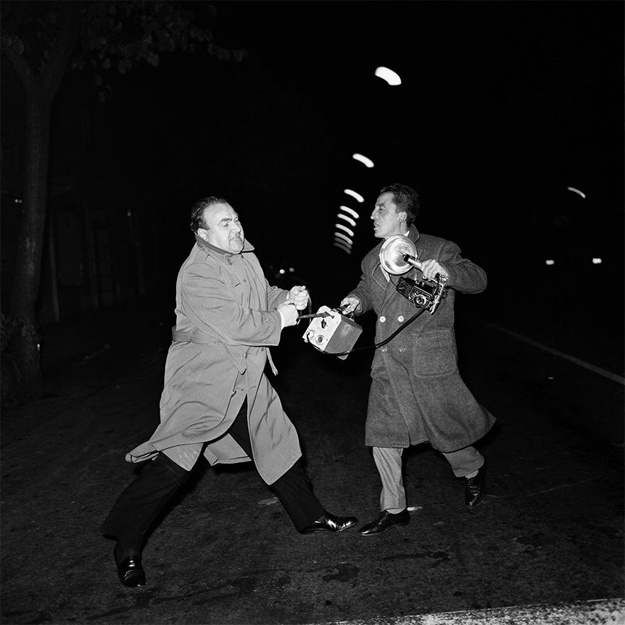 Don Gussoni Quarrels With Photographer Giacomo Alexis, Rome 1959