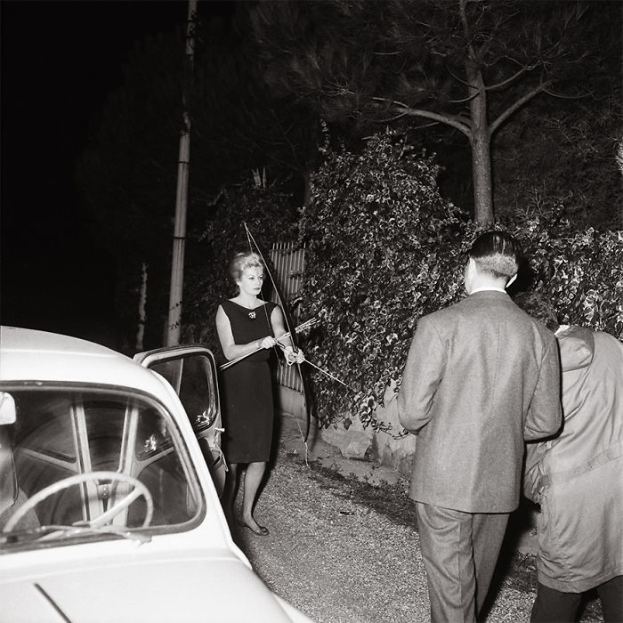 Anita Ekberg Facing The Paparazzi With Bow And Arrows, October 20, 1960