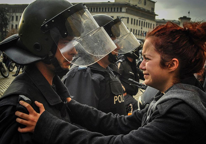 A Girl Begging The Officers Not To Use Force Against The Protesters. Bulgaria, November 2013