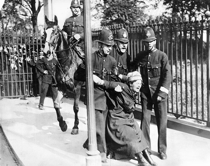 Woman Campaigning For The Vote Is Restrained By Policemen, C 1910. British Women Did Not Win Full Voting Rights Until 1928