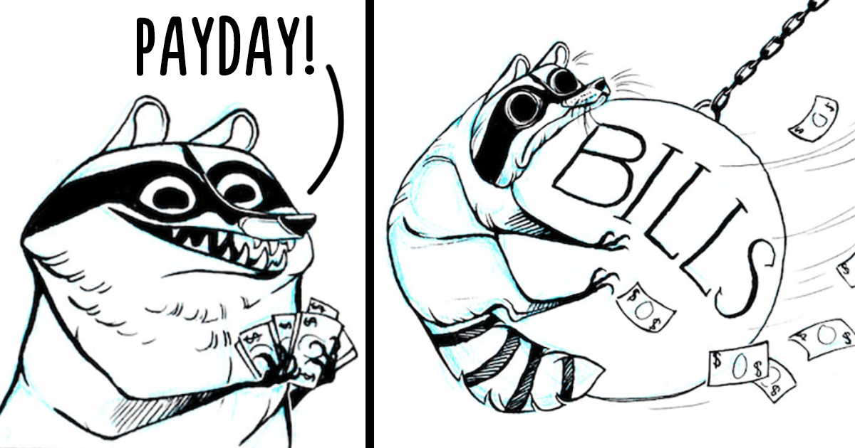 32 Darkly Humorous Comics About Raccoons That Are Actually About You