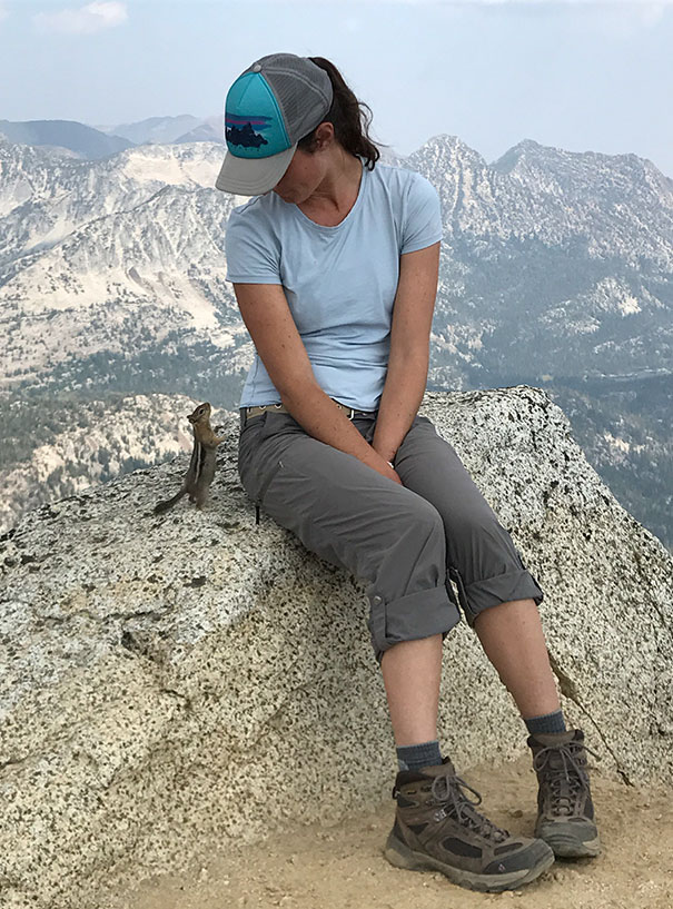 Esta ardilla mirando a mi novia en la cima de Eagle Cap Summit
