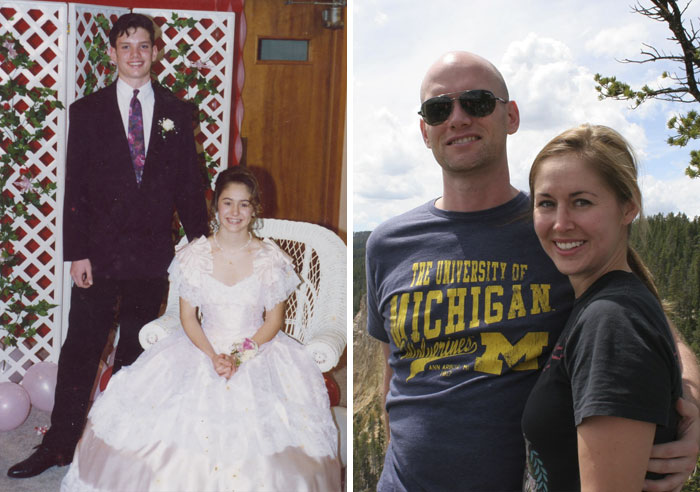 20 Years Together Since 8th Grade! Left - 8th Grade Valentines Banquet (1993). Right - Trip To Yellowstone (2013)