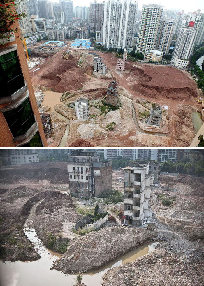 Hard-Line Developers In China Diverted A River To Encircle Householders Who Refused To Move From Their 900-Year-Old Village