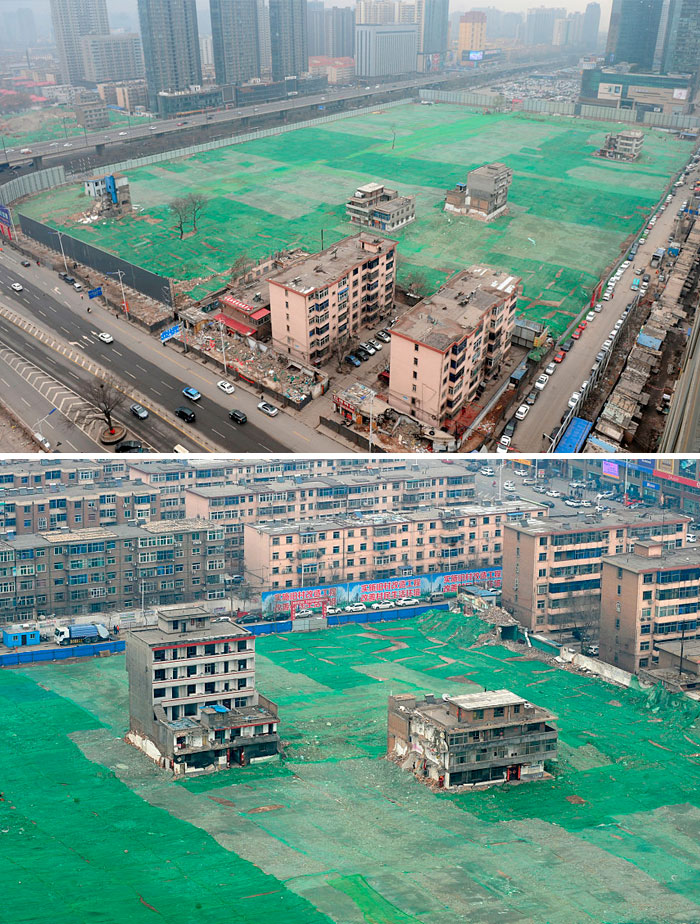 Nail Houses Whose Owners Refused To Relocate, At The Construction Field In Taiyuan, Shanxi Province Of China