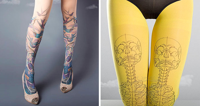 """37 """"Tattoo Socks"""" Perfect For People Who Love Tattoos But Don't Want To Commit"""