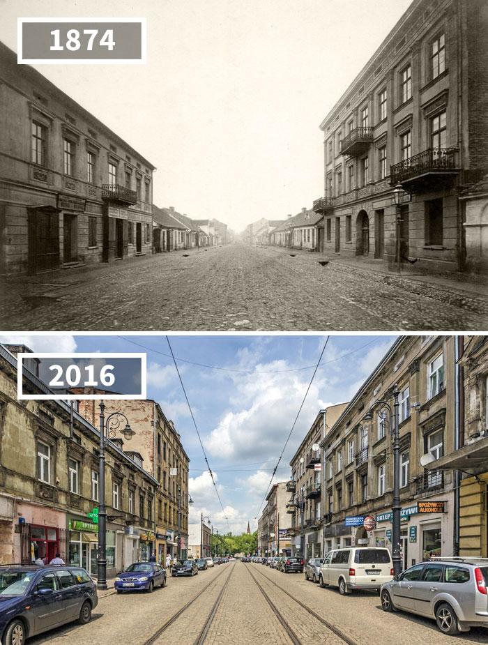 Nowomiejska Street, Łódź, Poland, 1874 - 2016