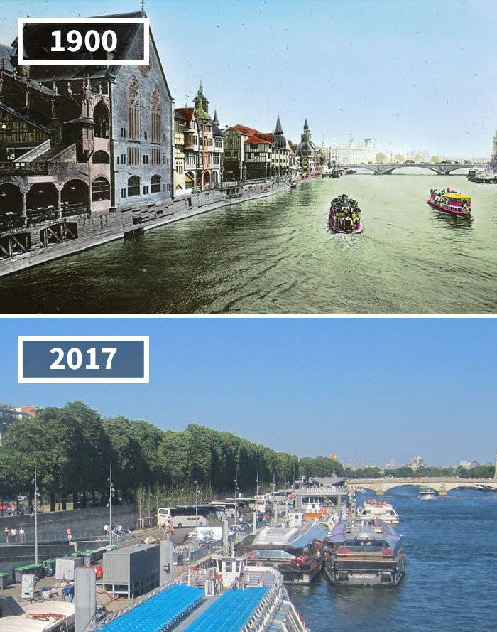 Seine From Pont De L'alma, Paris, France, 1900 - 2017
