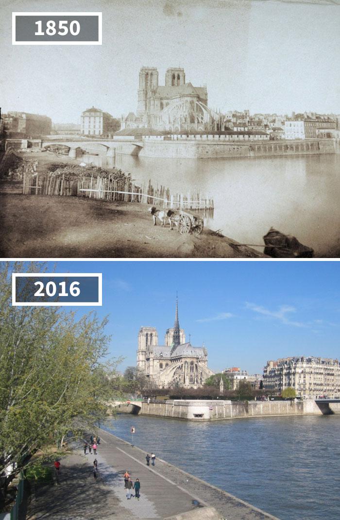 Notre Dame, Paris, France, 1850 - 2016
