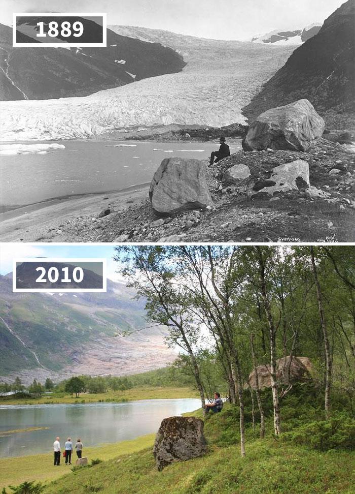 Engabreen Glacier, Holandsfjorden, Norway, 1889 - 2010