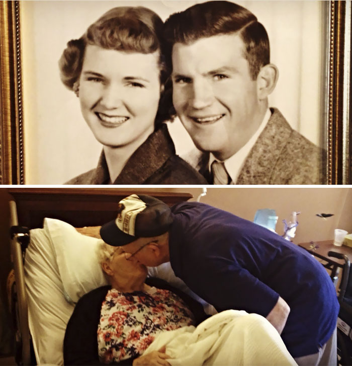 My Nana And Papaw, In 1951 When They Eloped, And Today, 62 Years Later. Still Beautifully And Irrevocably In Love