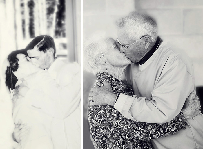 My Grandparents On Their Wedding Day And 60th Anniversary