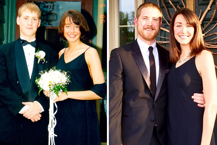 My Wife Might Be A Vampire. Left: Junior Prom; Right: Almost 20 Years Later, Wearing The Exact Same Dress