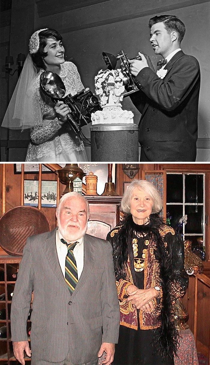 My Grandparents Were Both Traveling For National Geographic. This Is Their Wedding Picture From The 40s And A Picture That Was Taken In November 2005. This Visit Was The Last Time I Saw My Grandfather Alive. They Were Together For So Many Years