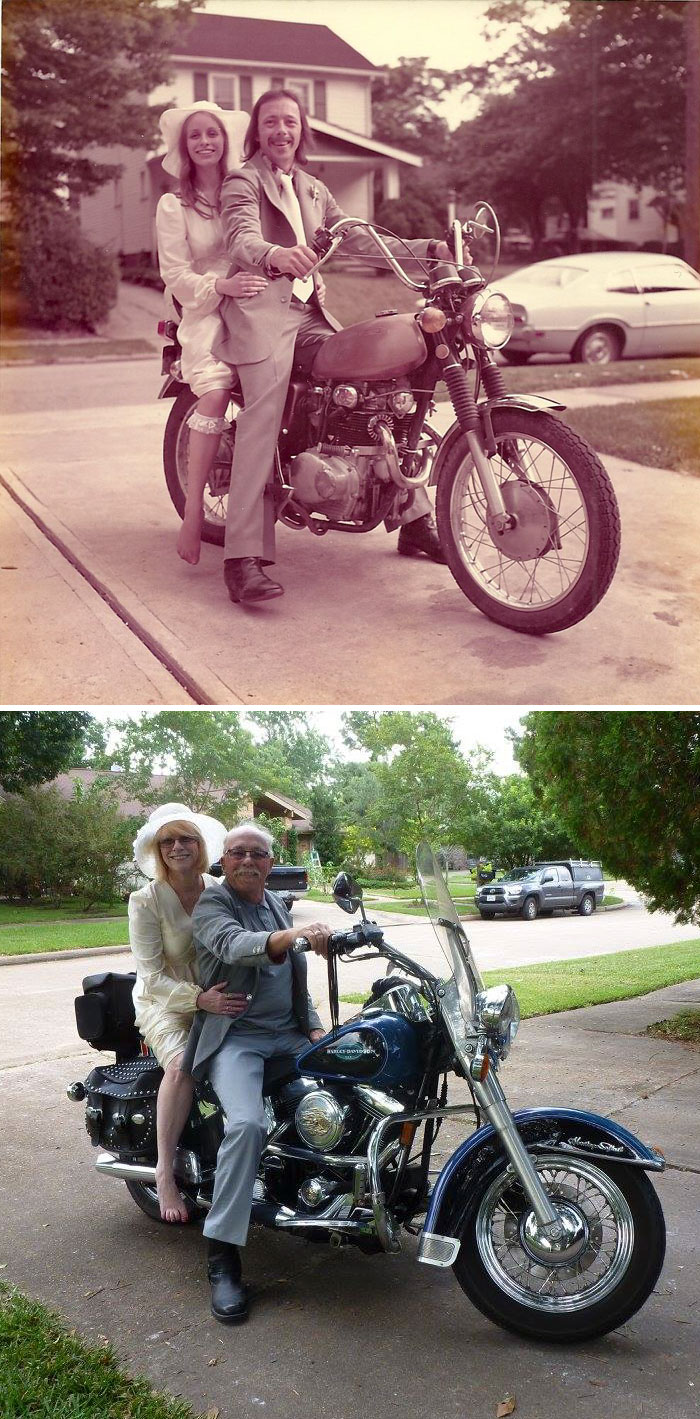 Celebrating 40th Anniversary By Recreating Their Wedding Pics From 1975