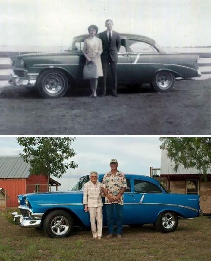 A Couple With Their Car
