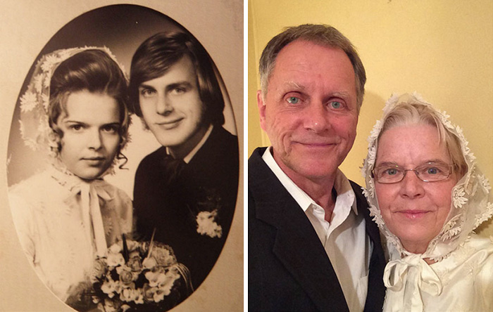 Here We Are, Almost 44 Years After Our Wedding. To My Amazement, The Wedding Dress Still Fits. 1971 And 2015