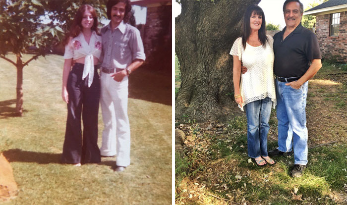 My Parents By Their Tree In 1975 And In 2016