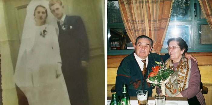 On Their Wedding Day In 1953 And On Their 61st Wedding Anniversary