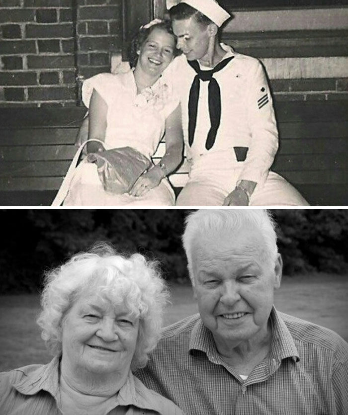My Grandparents On Their Wedding Day And On Their 60th Anniversary