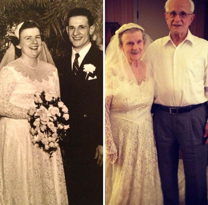 Bride Surprises Grandmother By Wearing Her Wedding Dress: 147 Amazing Then & Now Couple Photos That Will Make