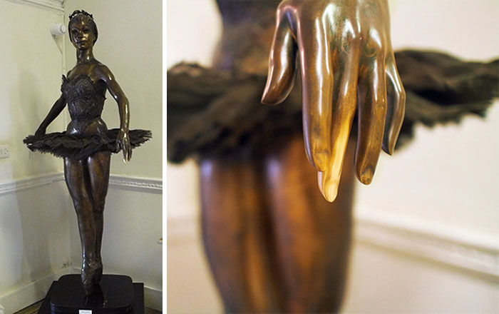 Bronze Statue Of Iconic Ballerina, Margot Fonteyn, At The Royal Ballet School In London. Ballet Students Touch The Middle Finger For Luck Each Time They Walk Past