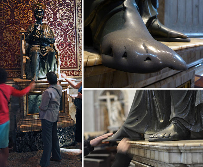 Pete's Feet - Inside St. Peter's Basilica, Vatican City, Pilgrims Have Been Touching And Kissing The Statue's Feet For Centuries