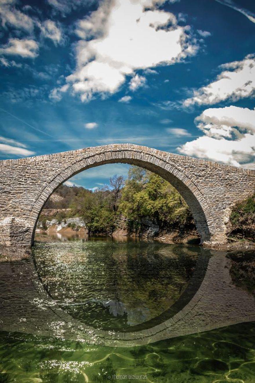Pramoritsa Bridge, Grevena (Photo Composition). Built 1770