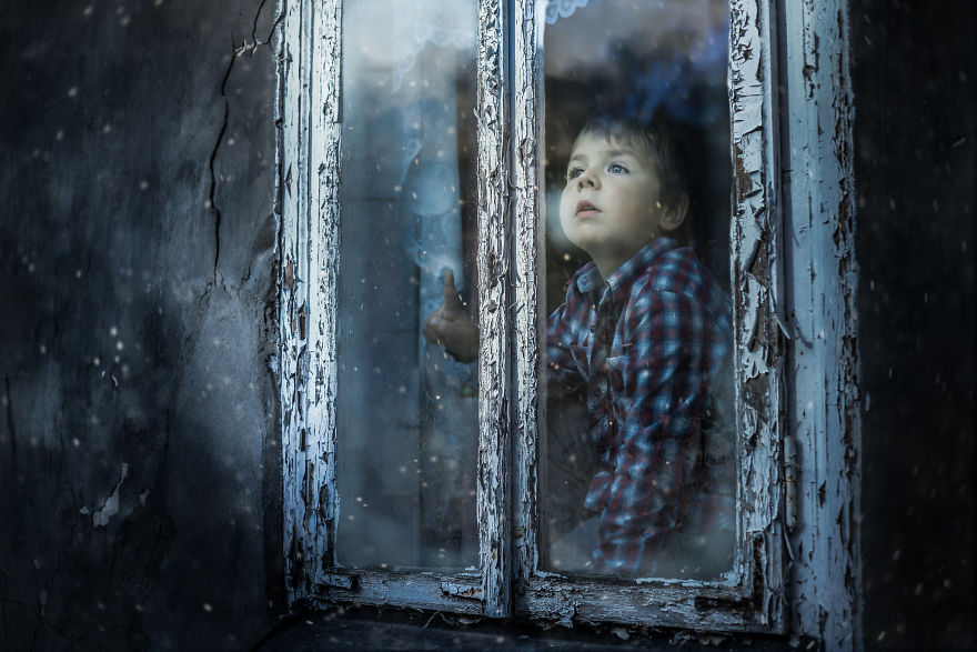 My Son Jaś Looking Through The Window At Old Grandma's House