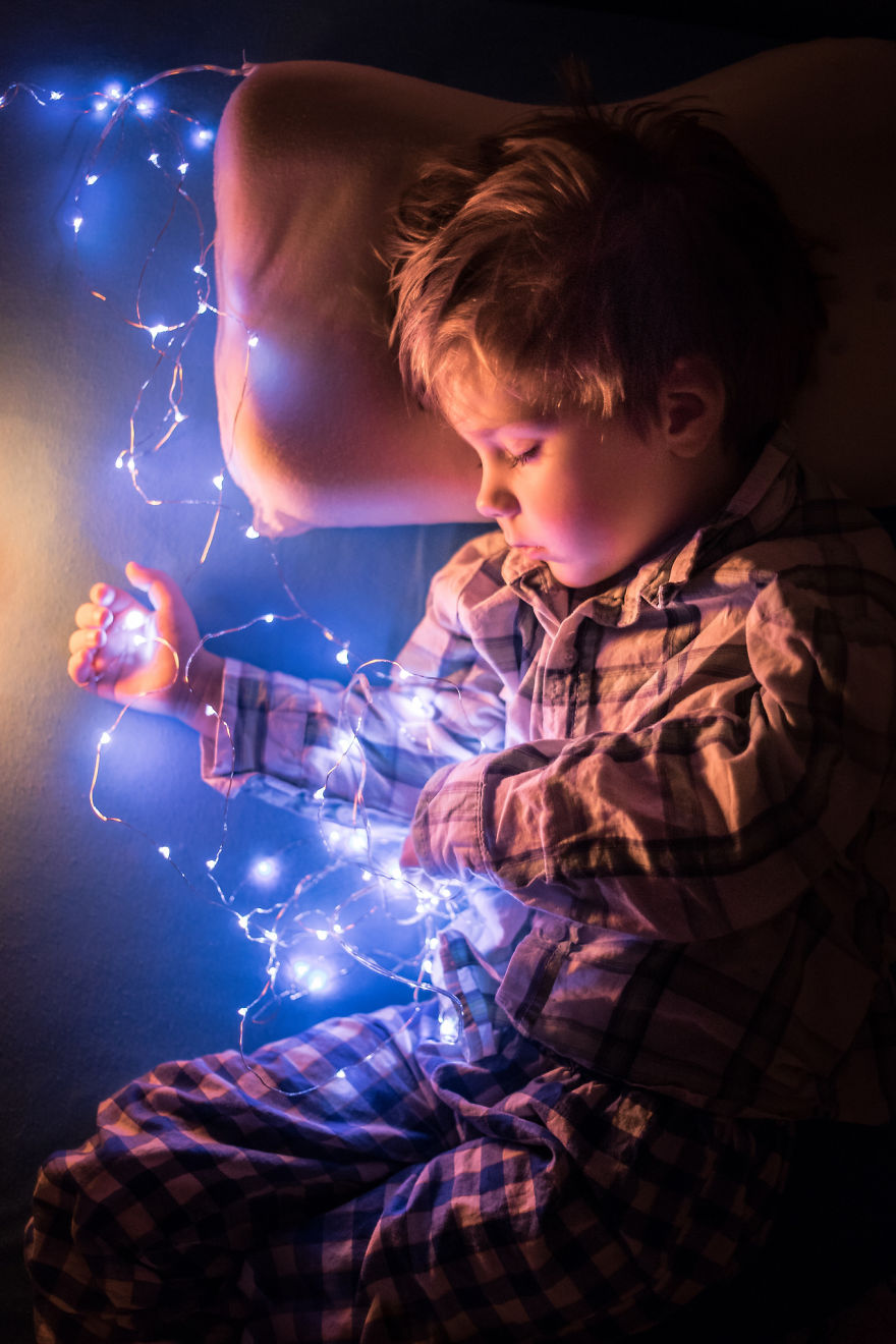 My Son Adam With Christmas Lights On The New Year's Eve Night