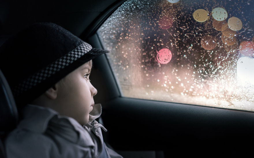 My Son Adam In Our Car, Coming Back Home In The Evening After And Exciting Day
