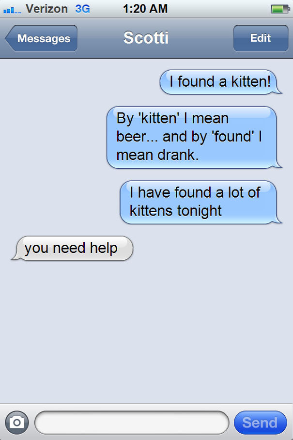 How Not To Drunk Text Your Friends That Like Cats