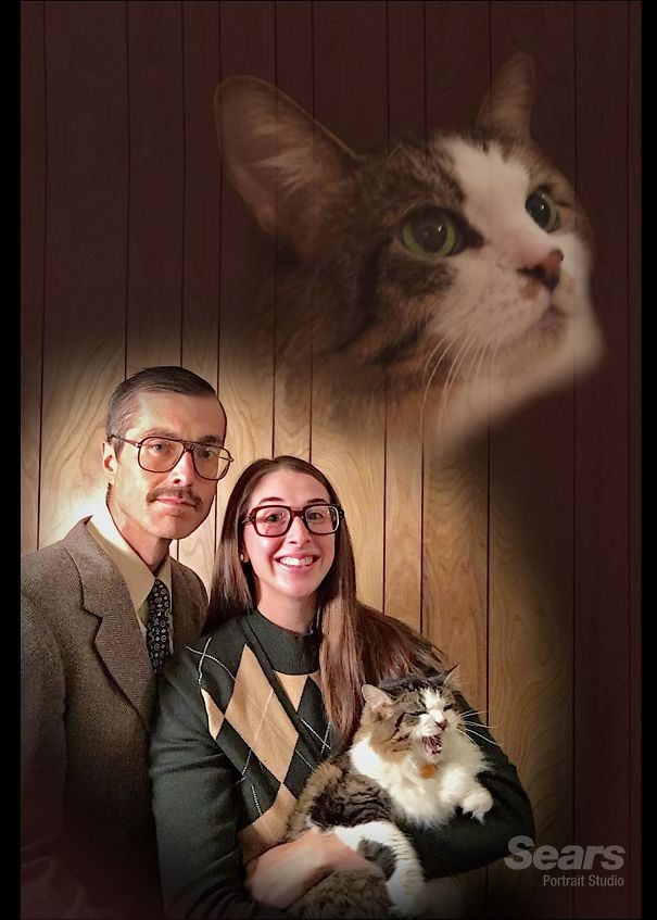 My Wife And I Went Retro For Our Christmas Card Portrait This Year