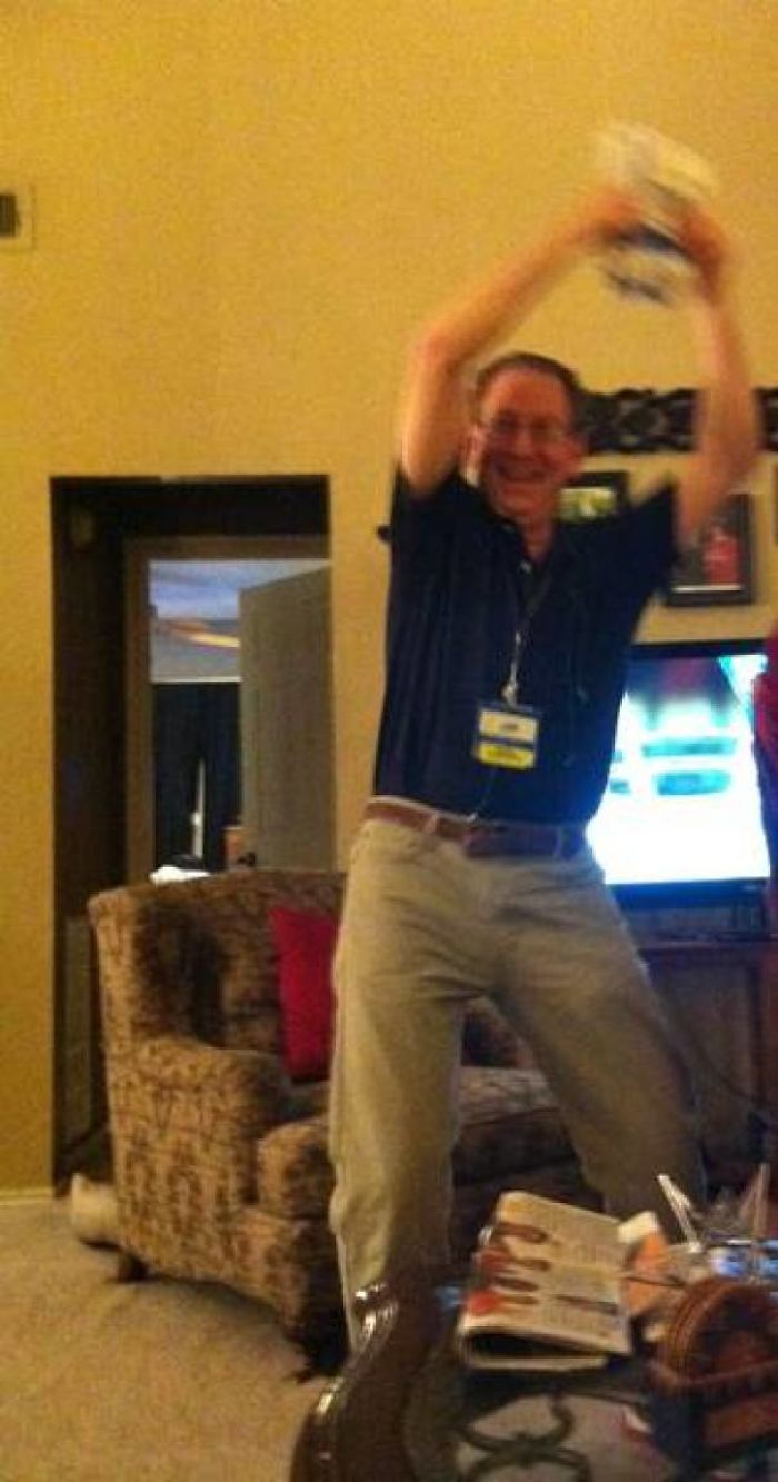 My Dad Celebrating Because He Finally Has Health Insurance And Is Able To Afford His Heart Medications