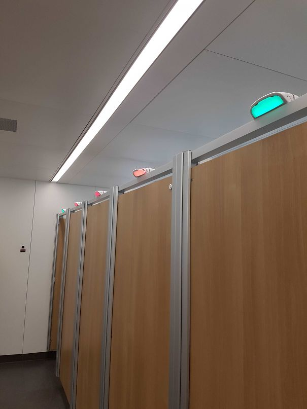 London Heathrow Has Lights Above Toilet Doors To Signify Which Ones Are Occupied