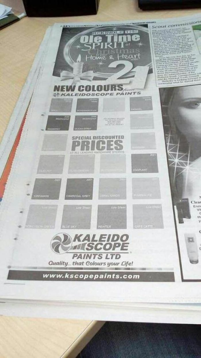 To The Untrained Eye, They All Seem Black And White.. (Newspaper Ad For New Paint Colors)