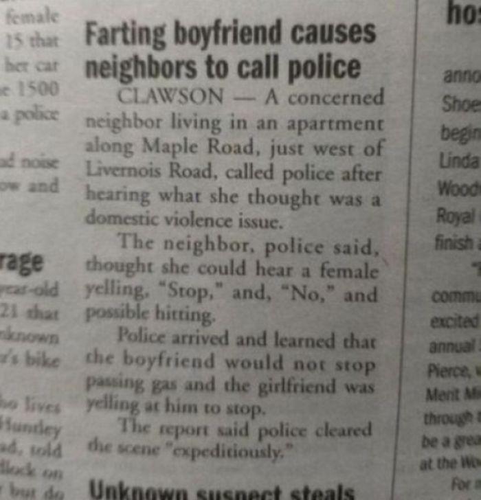 Farting Boyfriend Causes Neighbors To Call Police