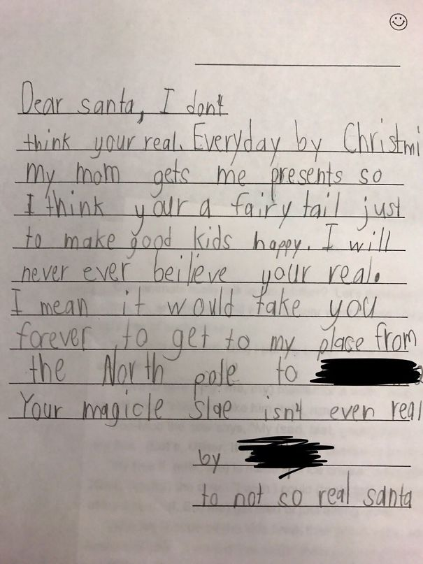 If Anyone Is Having Trouble Getting Into The Christmas Spirit... Here's A Letter To Santa Written By One Of My Students
