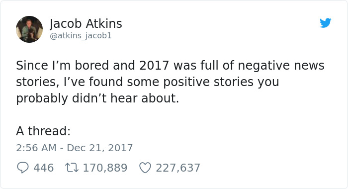 Man Tired Of All Negative News From 2017 Posts The Most Positive Things That Happened This Year