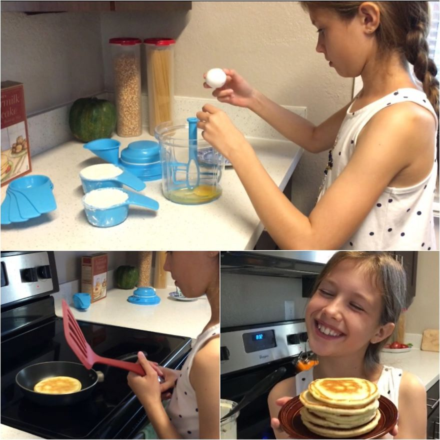 She Loves Pancakes 🥞 For Breakfast! And Now She Knows How To Make Them 🤩 Cooking/baking Together Is Quality Time Together ❤️