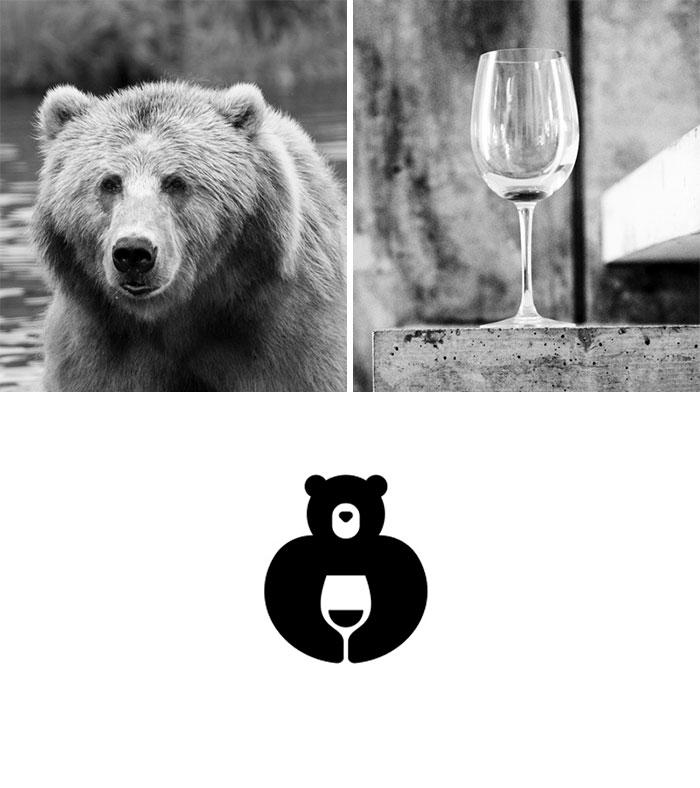 Logotipos combinando dos elementos: Vino de oso