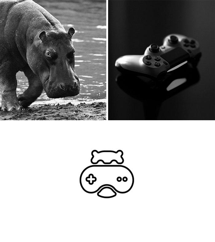 Logotipos combinando dos elementos: Hippo Gamer