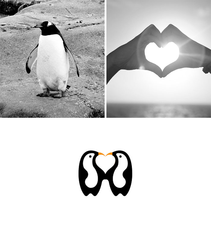 Logotipos combinando dos elementos: Penguin Love