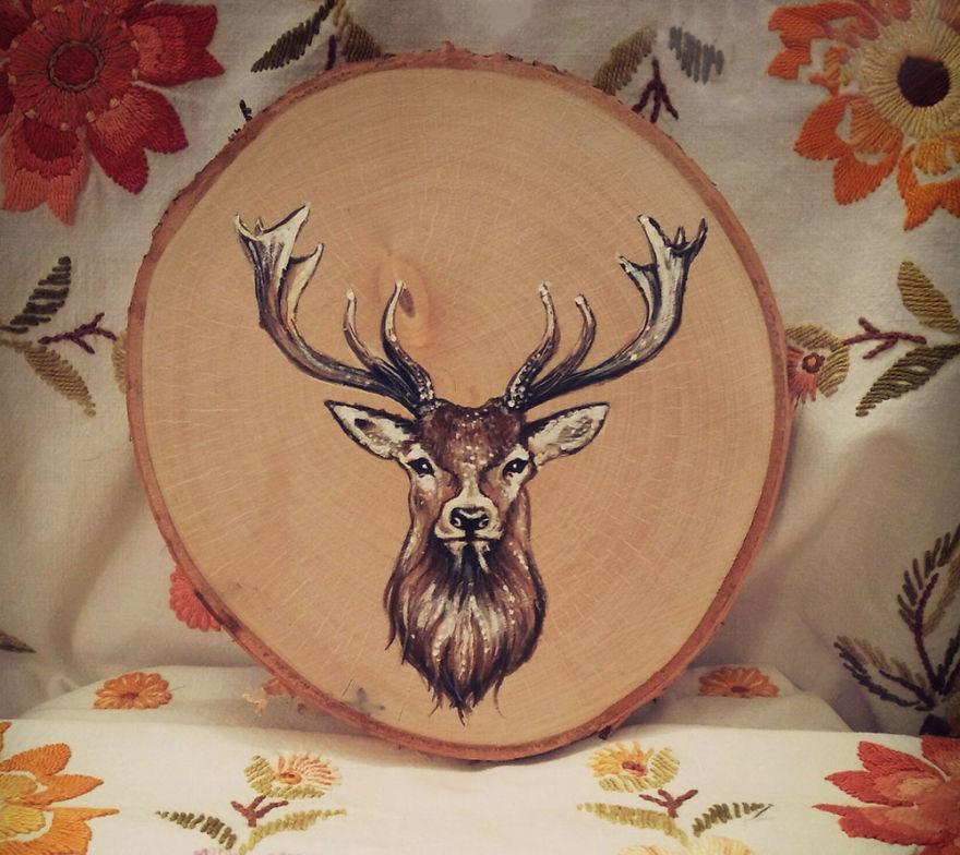Art On Wood Slices - O Matko Naturo