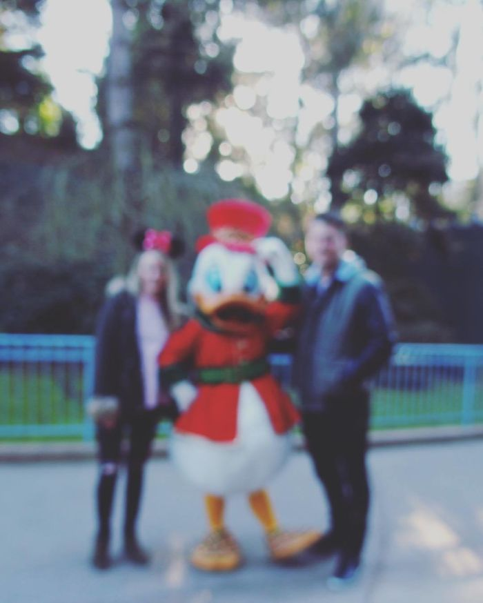 We Waited Half An Hour To Get This Photo With Scrooge McDuck Because There Was No Way We Were Waiting 75 Minutes To Meet Mickey Or Donald Duck... This Is How Our Photo Turned Out
