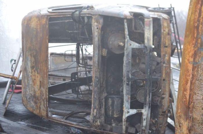 Real Burned Out Bus On Khreshchatyk Street Form Ukrainian Revolution In Winter 2014