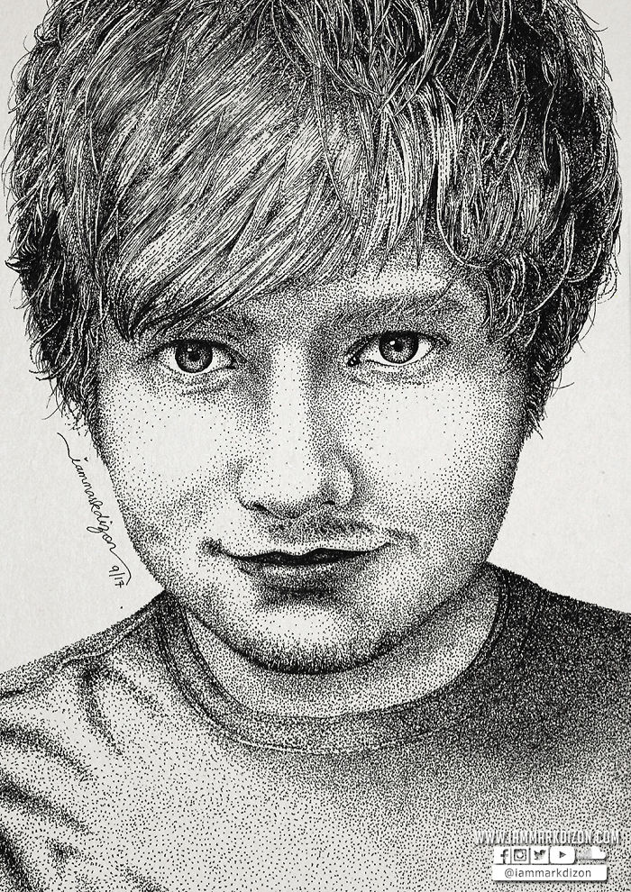 Ed Sheeran Portrait Made With Hundred Thousands Of Dots