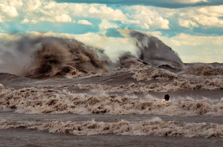 Image Of Myself In The Turbulent Waters Of Lake Erie Captured By Art Johnston.
