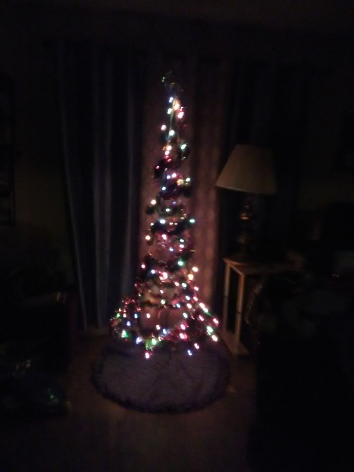 My First Floating Christmas Tree. Made With A Tube, String, Garlands, And Lights.
